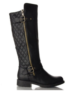 black quilted women boots