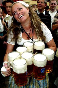 oktoberfest waitress hot beer